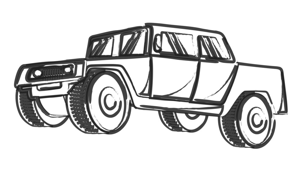 Retro Drawing Of Ancient Jeep Vehicle Royalty-Free Stock