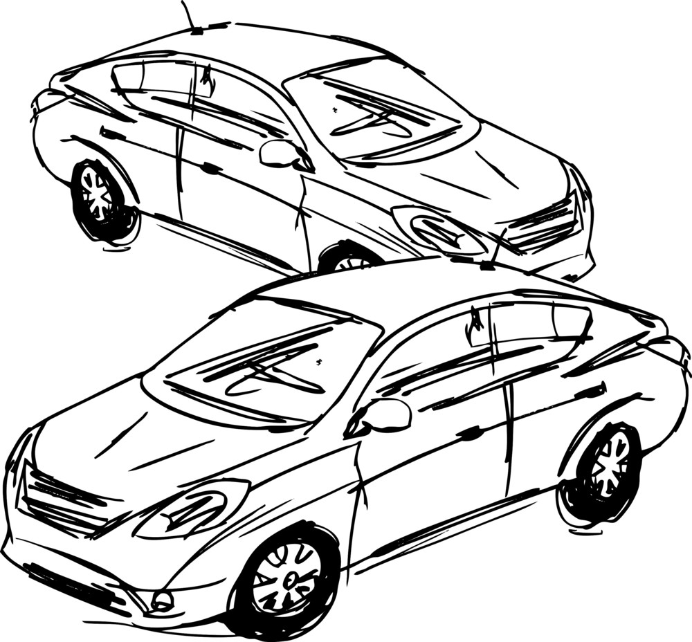 Sketch Of Cars. Vector Illustration Royalty-Free Stock