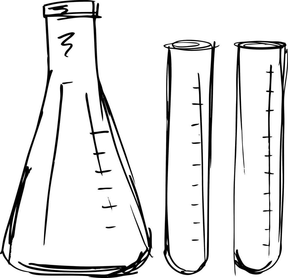 Sketch Of Test Tube. Vector Illustration Royalty-Free