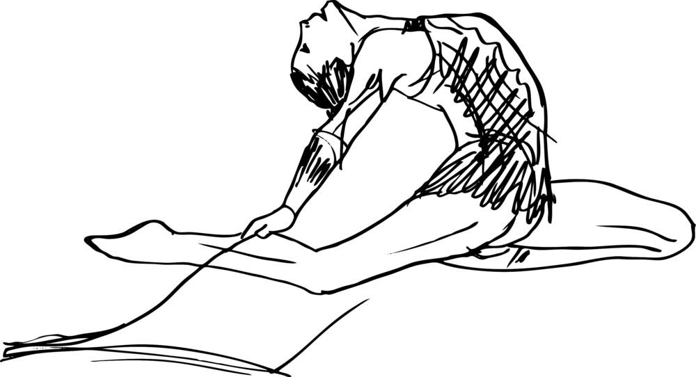Sketch Of Woman Rhythmic Gymnastics Art Dancer. Vector
