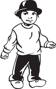 Little boy with sad face illustration Royalty-Free Stock