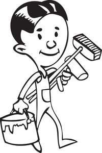 Illustration Of A Painter With Paint Roller And Bucket