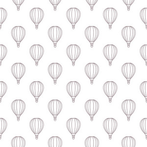 Pattern Of Red And Blue Hot Air Balloons On A White