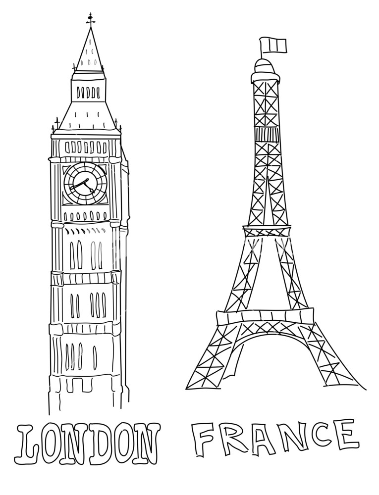Big Ben And Eiffel Tower Stock Image