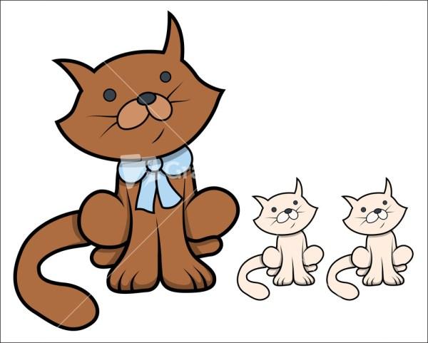 Cute Cartoon Cat With Kittens - Vector Illustration Royalty-free Stock Storyblocks
