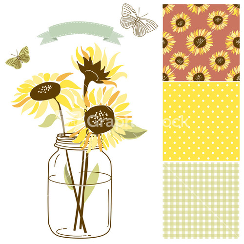 retro sunflower drawing