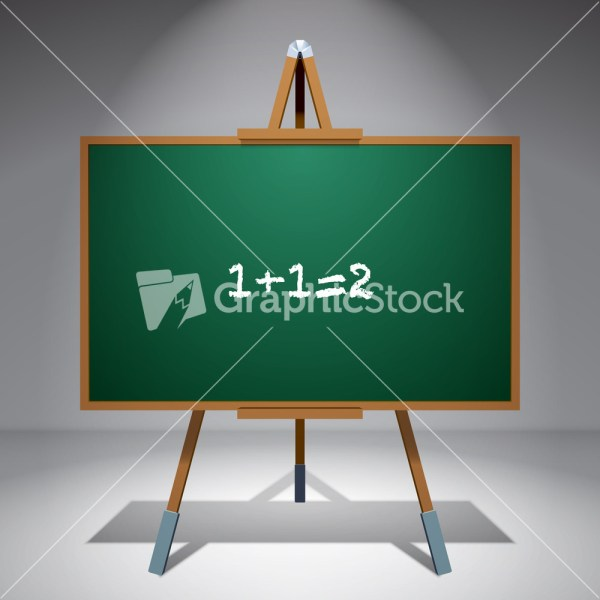 Vector Blank Chalkboard Painting Easel