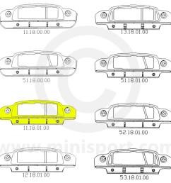 mini front panel assembly options mcr11 18 01 00 mini cooper 64 [ 1200 x 1200 Pixel ]