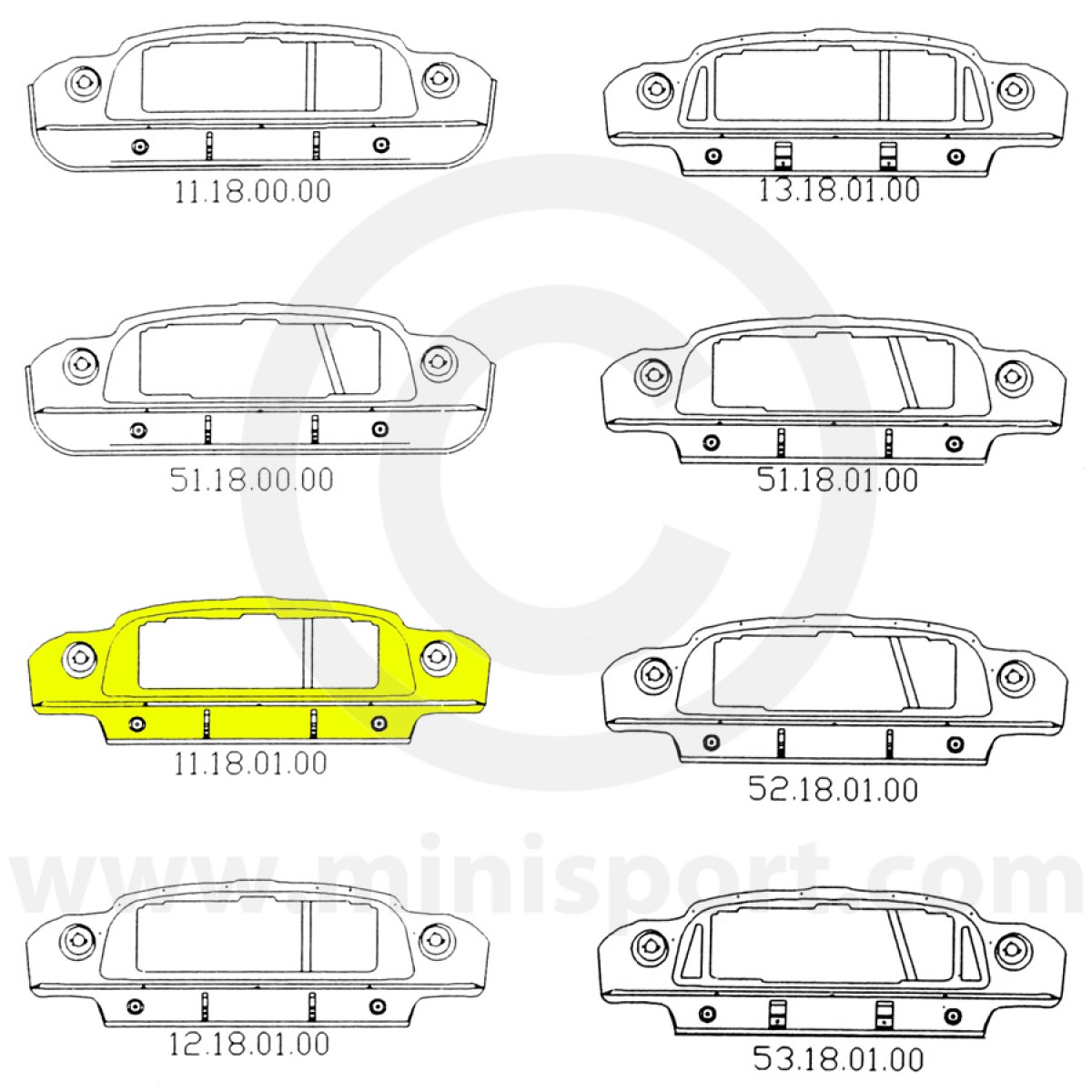 hight resolution of  mini front panel assembly options mcr11 18 01 00 mini cooper 64