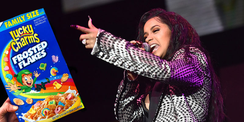 CardiBFrostedFlakes 800x400 Cardi B demands to be paid for inspiring the new Lucky Charms cereal