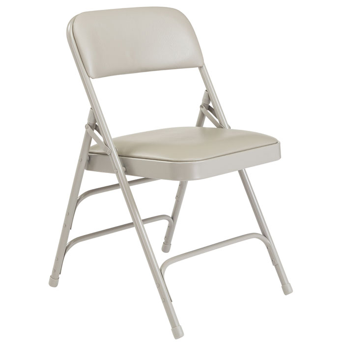 public seating chairs bar stool chair extenders national padded folding w triple braces gray vinyl frame by 1302 stock 96112