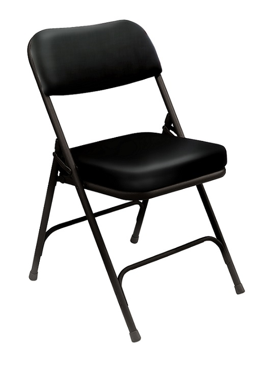 black padded folding chairs chair covers for sale port elizabeth national public seating vinyl 3210 frame