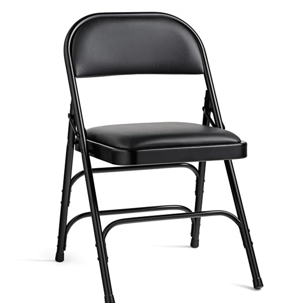 black padded folding chairs newport rocking chair samsonite vinyl steel 49752