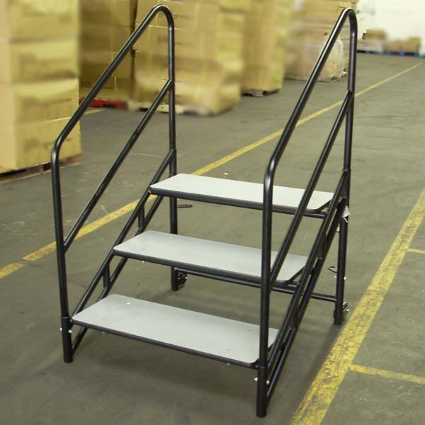 National Public Seating Steps For 32 H Nps Stages Stp32 Risers   Portable Steps With Handrail   3 Step   Free Standing   Camper   Stair   Safety Step Ladder 4 Step