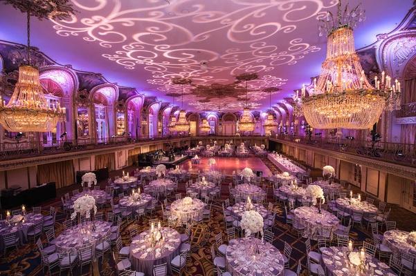 Colorful Church Ceremony Purple Ballroom Reception In