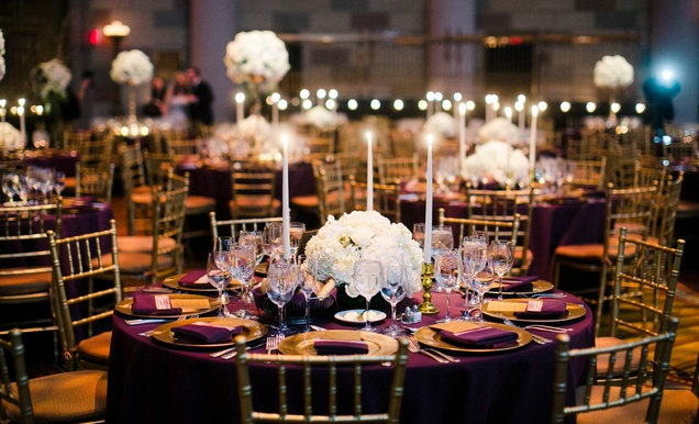 GatsbyInspired Jewish Wedding with Purple  Gold Dcor in