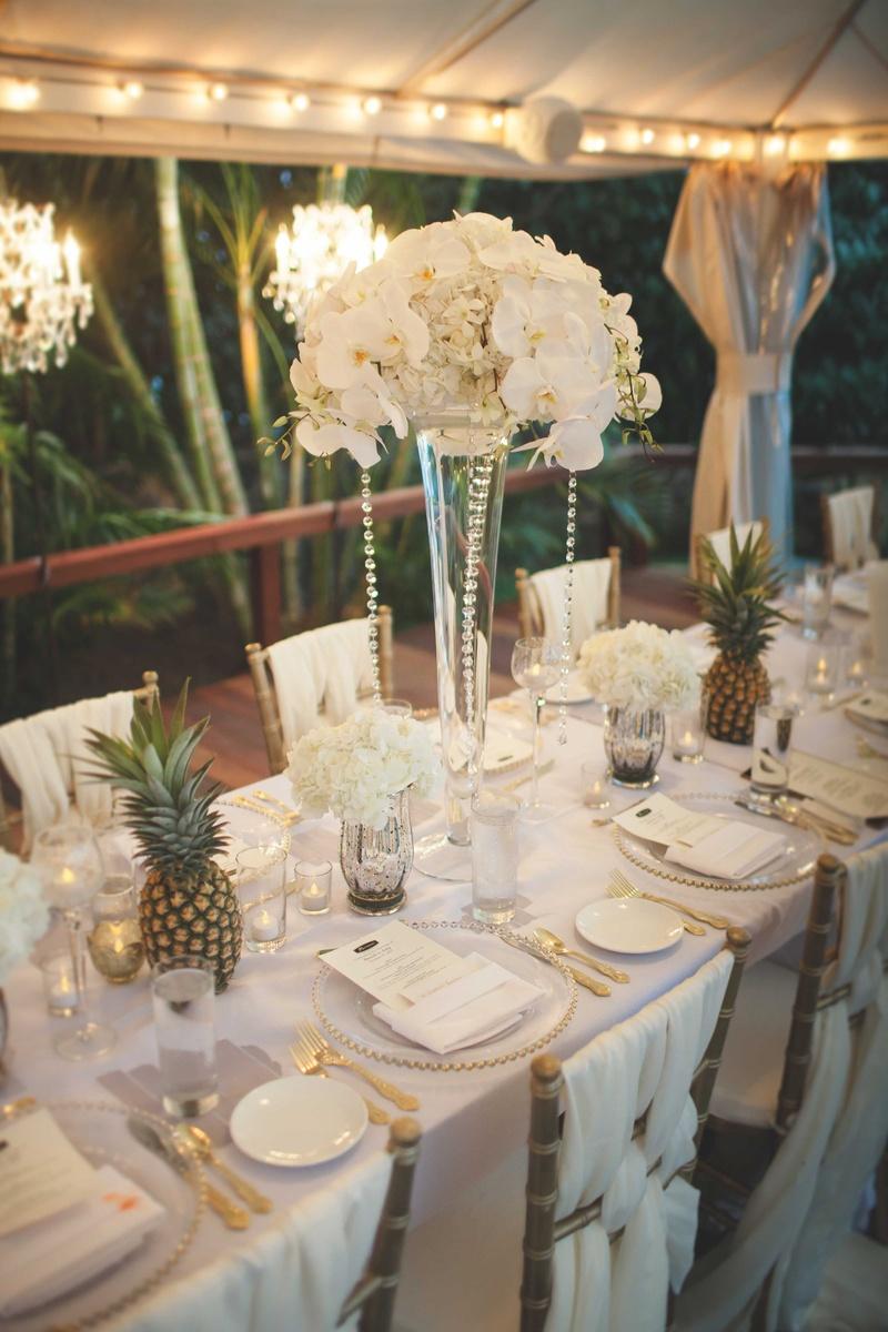 Reception Dcor Photos White Centerpieces Amp Pineapple