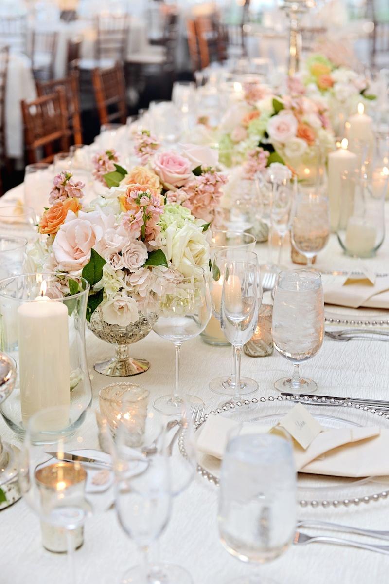 Reception Dcor Photos  MercuryGlass Vases with Peach