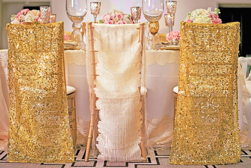 wedding chair covers for children s high booster seat reception decor photos gold sequin inside weddings styled shoot with and white linen