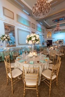 tiffany wedding chairs la z boy church ceremony blue ballroom reception in north carolina gilt around guest tables at