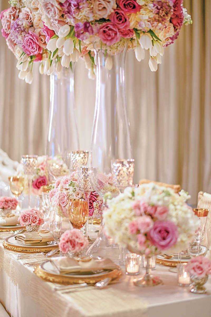Reception Dcor Photos Gold Pink Amp White Tablescape