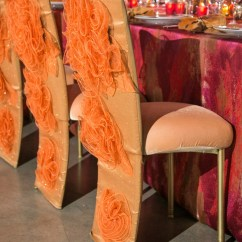 Decorative Chair Covers Wedding Dining Room Slipcovers Armless Chairs Reception Decor Photos Orange Inside Fire Inspired Styled Shoot Glittery