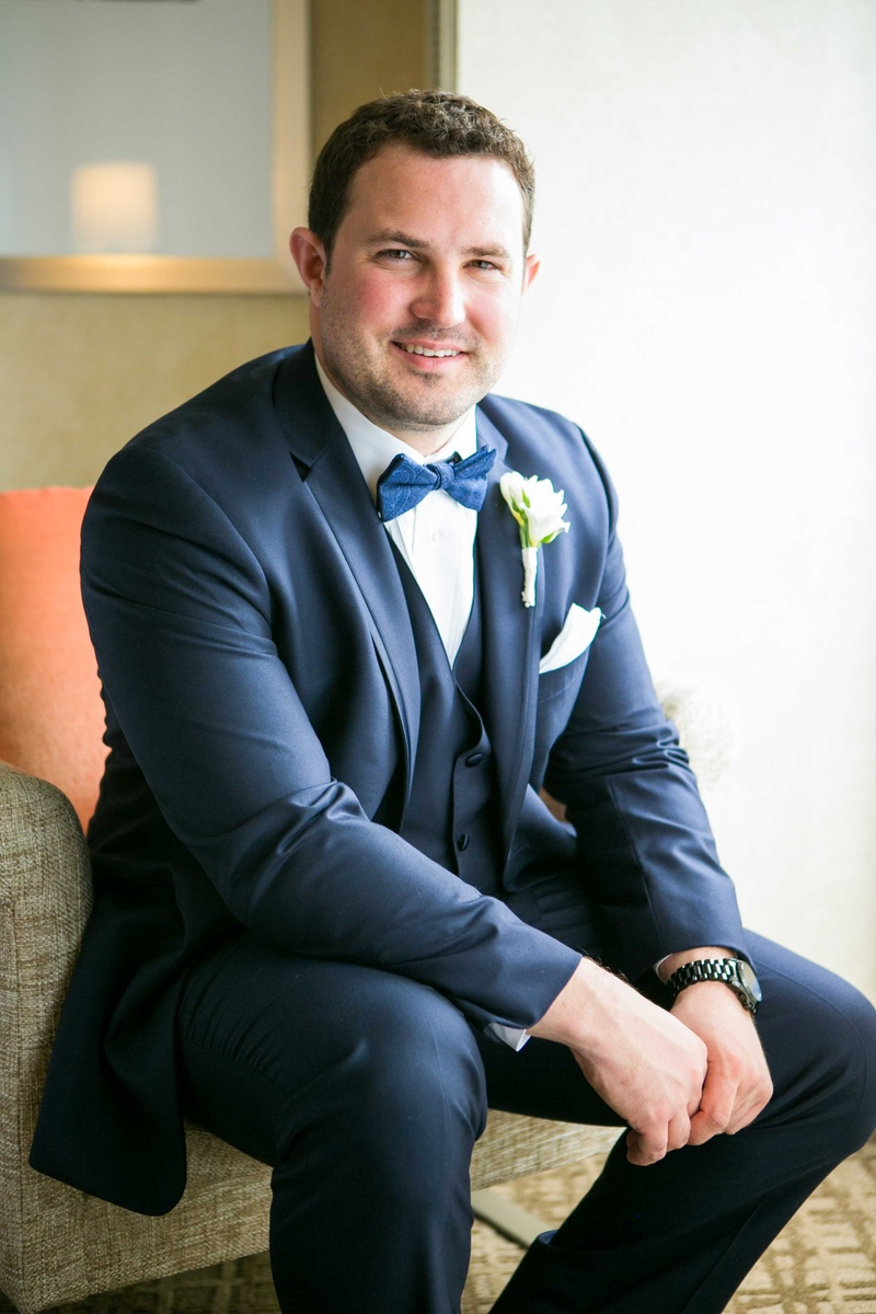 Navy Suit Black Bow Tie