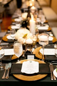 Reception Dcor Photos - Gold Chargers with Black Linens ...