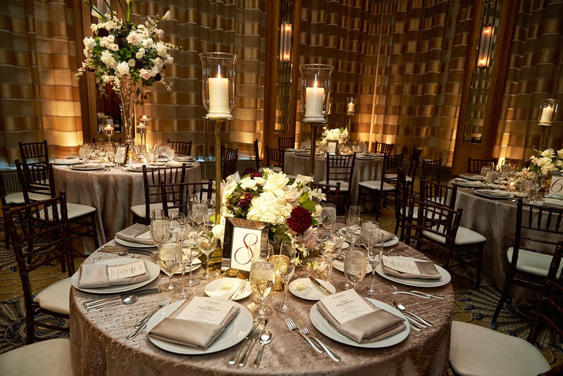 Reception Dcor Photos  Silver Tablescapes with Varying