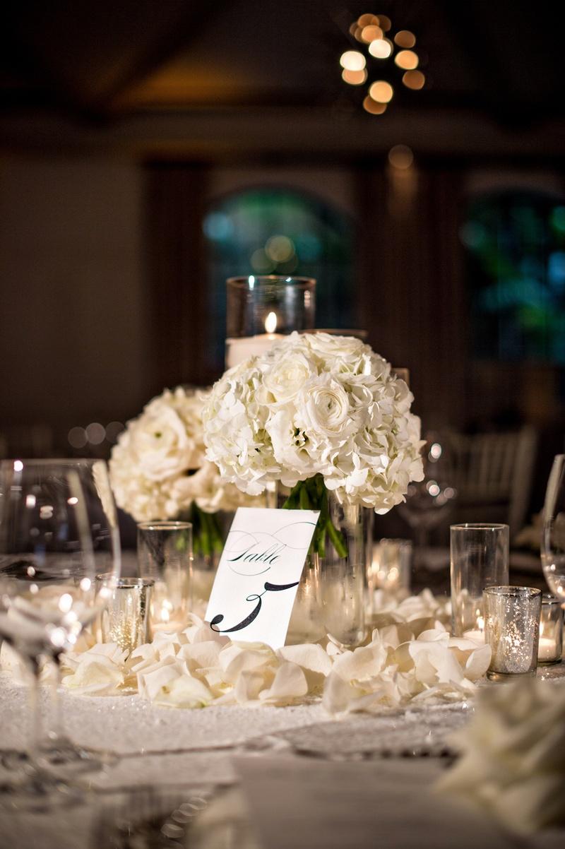 Reception Dcor Photos  Rose Petals Around Centerpieces