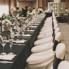 Black Glitter Chair Covers Leather Butterfly Chairs Reception Decor Photos White Inside Weddings Long Head Table Surrounded By And