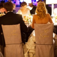 Wedding Chair Covers For Bride And Groom Swing Parts Glittering Gold New Year S Eve Celebration In Oklahoma City Inside Chairs With Embroidered Names