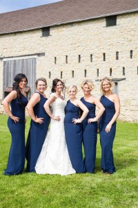 Brides & Bridesmaids Photos - One-Shoulder Navy Bridesmaid ...