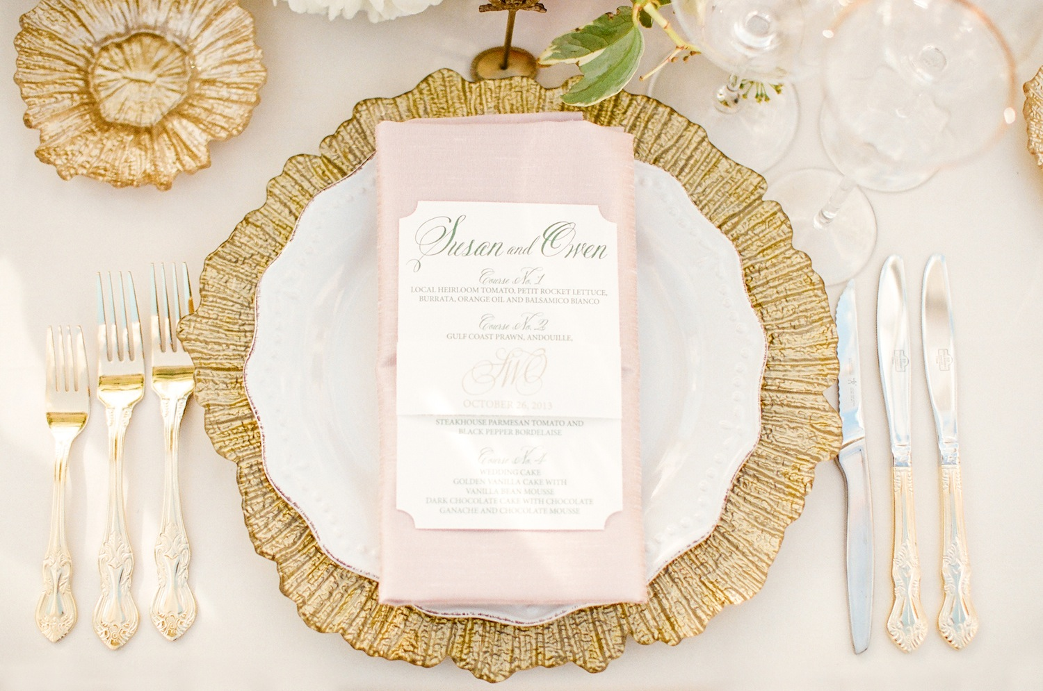 Wedding Trends: Gold Flatware at Reception Table Settings