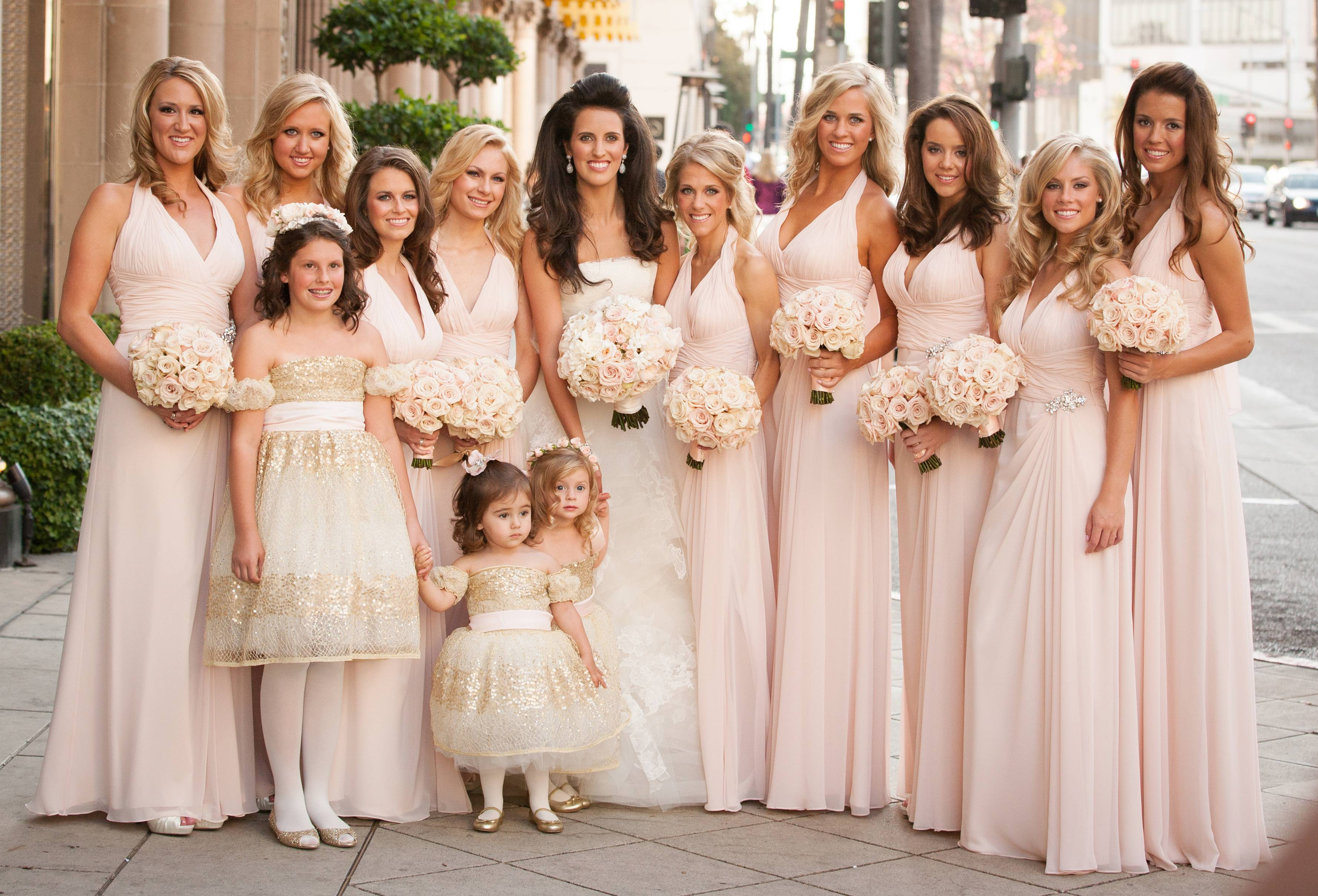 Bridesmaid Dresses: Blush Bridesmaid Gowns from Real