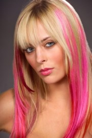 """""""making stripes"""" pink hair party"""