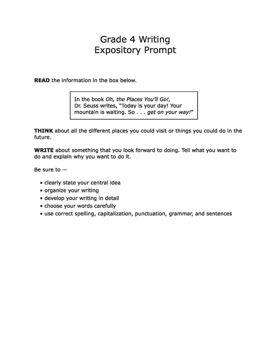 An expository essay prompt