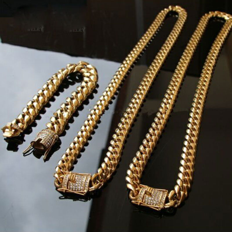2019 14mm Cool Mens Chain Gold Tone 316L Stainless Steel Necklace Curb Cuban Link Chain And