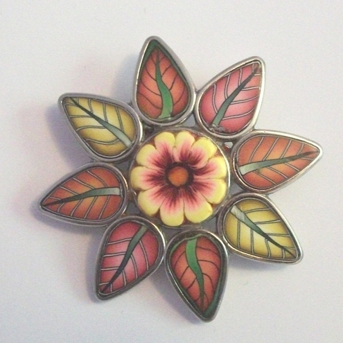 Flower and Leaves Brooch Yellow and Russet