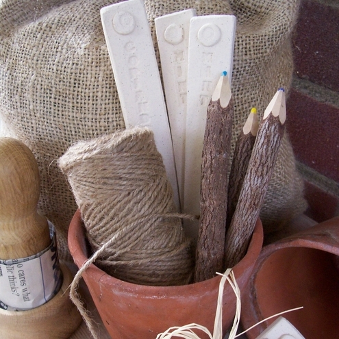 Rustic herb markers - Little brick house
