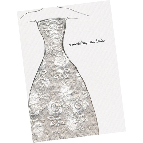 lace dress wedding invitation