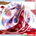 Shabby Chic Gingham &  Floral Drawstring Flower Bag (Sm)