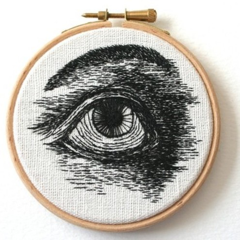 Eye Embroidery Wall Plaque by Sam Gibson
