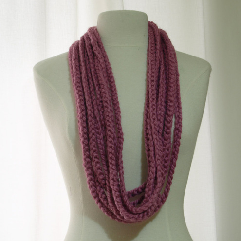 Honeysuckle Pink Crochet Chain Scarf