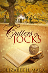 There's a pile of three books with the top most open. Ther'es a baseball on top of the open book. There's a big tree and a building on the background. Colours suggest it's autumn. Title: Cutters vs. Jocks. Author: Elizabeth Marx.