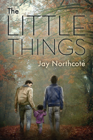 Two men are walking away from the camera in the woods with a little girl. She's holding both their hands as they walk on the fallen autumn leaves. Title: The Little Things. Author: Jay Northcote.