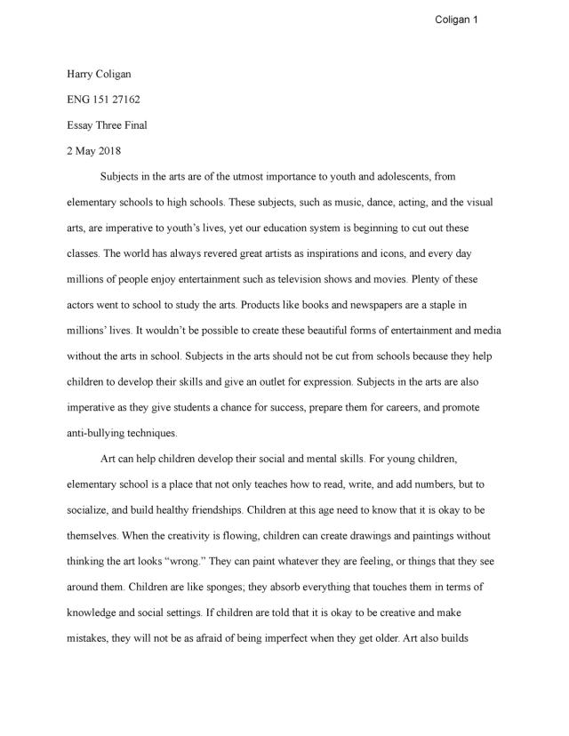 Arts and Education Essay - Example - Coligan 28 Harry Coligan ENG