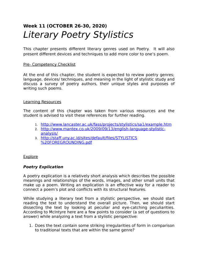 Poetry Explication - This contains the summary for the week 29