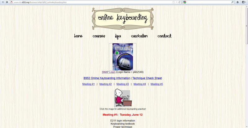 Screenshot of online portal
