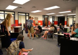 Students utilize the new student services area at Conant High School. The main office areas were renovated this summer.